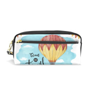 LORVIES Balloon Travel Watercolour Background Portable PU Leather Pencil Case School Pen Bags stationery Pouch Case Large Capacity Makeup Cosmetic Bag