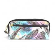 LORVIES Hand Drawn Feathers Pattern Portable PU Leather Pencil Case School Pen Bags stationery Pouch Case Large Capacity Makeup Cosmetic Bag