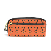 LORVIES Halloween Pumpkin Faces Pattern Portable PU Leather Pencil Case School Pen Bags stationery Pouch Case Large Capacity Makeup Cosmetic Bag
