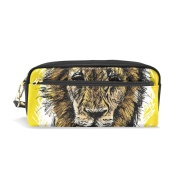 LORVIES Sketch Of A Big Male African Lion Portable PU Leather Pencil Case School Pen Bags stationery Pouch Case Large Capacity Makeup Cosmetic Bag