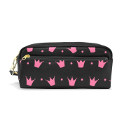 LORVIES Pink Princess Crown Pattern Portable PU Leather Pencil Case School Pen Bags stationery Pouch Case Large Capacity Makeup Cosmetic Bag