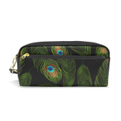 LORVIES Peacock Feather Pattern Portable PU Leather Pencil Case School Pen Bags stationery Pouch Case Large Capacity Makeup Cosmetic Bag