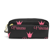 LORVIES Princess Crown Pattern Portable PU Leather Pencil Case School Pen Bags stationery Pouch Case Large Capacity Makeup Cosmetic Bag