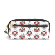 LORVIES Skulls And Roses Pattern Portable PU Leather Pencil Case School Pen Bags stationery Pouch Case Large Capacity Makeup Cosmetic Bag