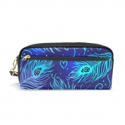 LORVIES Peacock Feathers Pattern Portable PU Leather Pencil Case School Pen Bags stationery Pouch Case Large Capacity Makeup Cosmetic Bag