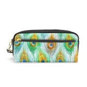 LORVIES Watercolour Green Peacock Feather Pattern Portable PU Leather Pencil Case School Pen Bags stationery Pouch Case Large Capacity Makeup Cosmetic Bag