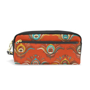 LORVIES Peacock Feather In Red Background Portable PU Leather Pencil Case School Pen Bags stationery Pouch Case Large Capacity Makeup Cosmetic Bag