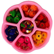 Am Pom Pom Tassel- Combo In Multicolors For Earring/ Jewellery/, Bag Accessories Etc With Free Colourful Multiuse Storage Box