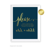 Andaz Press Wedding Party Signs, Navy Blue with Metallic Gold Ink, 22cm x 28cm , Please Take a Wand and Give a Wave of Good Wishes to the New Mr. & Mrs., 1-Pack