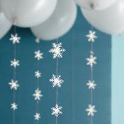 Hunulu Christmas 3D White Snowflake Paper Garland Banner Hanging Ornament Home Decor