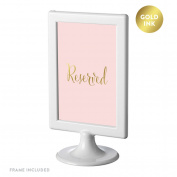 Andaz Press Framed Wedding Party Signs, Blush Pink with Metallic Gold Ink, 10cm x 15cm , Reserved, Double-Sided, 1-Pack
