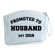 Promoted To Husband Est Year Personalised Wedding Engagement Party Gift Make Up Bag - Cosmetic Canvas Case