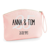Names Date And Anniversary Year Colour Personalised Wedding Engagement Party Gift Make Up Bag - Cosmetic Canvas Case