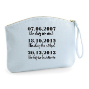 The Day We Met Wedding Engagement Party Gift Make Up Bag - Cosmetic Canvas Case