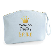I Can't Keep Calm I'm The Bride Personalised Wedding Engagement Party Gift Make Up Bag - Cosmetic Canvas Case