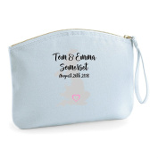 Location Heart Names Personalised Wedding Engagement Party Gift Make Up Bag - Cosmetic Canvas Case