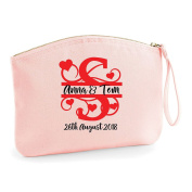 Swirly Split Monogram Custom Any Letter Any Colour Personalised Wedding Engagement Party Gift Make Up Bag - Cosmetic Canvas Case