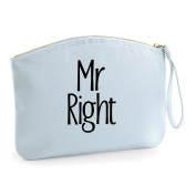 Mr Right Simple Text Wedding Engagement Party Gift Make Up Bag - Cosmetic Canvas Case