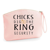 Chicks Dig The Ring Security Wedding Engagement Party Gift Make Up Bag - Cosmetic Canvas Case
