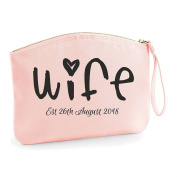 Scribble Wife Est Any Year Personalised Wedding Engagement Party Gift Make Up Bag - Cosmetic Canvas Case