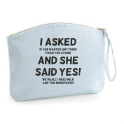 I Asked And She Said Yes Prank Wedding Engagement Party Gift Make Up Bag - Cosmetic Canvas Case