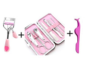 Eyelash Curler - Lash Curler with Pro Beauty Tool Natural Looking Curls Painless Fits All Eye Shapes with Manicure Pedicure Set