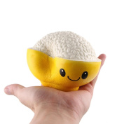 CieKen New Cute Creative Smiley Rice In The Bowl Pu Very Soft Slow Rising Squeeze Rare Stress Reliever Toy for Kids and Adults