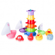 Bath Toys -Stacking Cups & Squirt Squeak Toys & Floating Boat for Baby & Toddler (15 PCS) - Fun & Educational