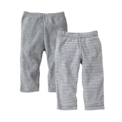 Burt's Bees Baby Organic Footless Pants, Solid and Stripe, 12M, Heather Grey, 2 Ct