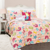 4pc Kids Girls Pink Red Blue Green Yellow Twin Quilt Set, Mermaid Themed Bedding Waves Bright Coral Sea Shell Chic Ocean Cute Adorable Stylish Fun Sweet Pretty Elegant, Polyester