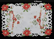 Creative Linens 4PCS Holiday Christmas Placemats 28cm x 43cm Embroidered Red Poinsettia Christmas Tree Snowy Cabin Tray Cloths White, Set of 4 Pieces