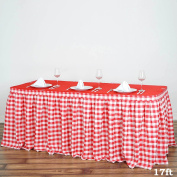 Efavormart 5.2m Perfect Picnic Inspired White/Red Chequered Polyester Table Skirt