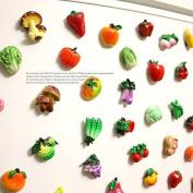 Miss.AJ 10 pcs Fridge Magnets Fruits Vegetables Magnetic Stickers Fridge Decors Baby Kids Education Learn Toys
