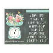 Cooking Conversion Chart Chalkboard Aqua Scale Baking Measurements Kitchen Magnetic Sign Home Decor 14cm X 11cm
