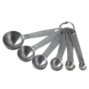 Pawaca 6 Pieces Stainless Steel Measuring Spoons, Engraved Measuring Dry and Liquid Ingredients with Stainless Ring Holder of 1/2, 1 Tablespoon, 1/8, 1/3 and 1/16 Teaspoon