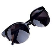 Mchoice Fashion Vintage Sunglasses Retro Cat Eye Semi-Rim Round Sunglasses for Men Women Sun Glasses