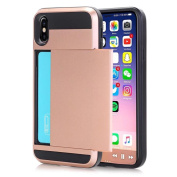 Wallet Phone Case, Ultra-Slim Back Case Cover With Credit Card Holder For iPhone X