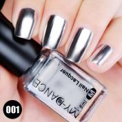 Vinjeely Flow Gold Mirror Chrome Effect Nail Polish Foil Nails Art Glitter Silver