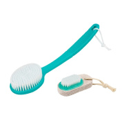 Aogo Bath Brush Set, Back Scrubber Body Brush and Foot Scrubber Pumice Stone Brush for Shower - Blue
