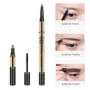 TC Joy 3 in 1 Eyebrow Pencil with Eyebrow Powder and Eyebrow Dye, Professional 3D Eyebrow Cosmetic Makeup Tool, Waterproof Natural and Long-lasting Brown-1#