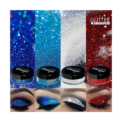 4pc GlitterWarehouse Holographic Loose Glitter Eye Shadow Powder Set Includes Blue Crush, Blue Raspberry, Angelic & Devious (10g Jars)