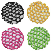 Ponytail Holder Crochet Bun Cover with 30 Crystal Rhinestones 4 Colours Pack