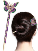LiveZone Fashion Hair Decor Chinese Traditional Style Women Girls Hair Stick Hairpin Hair Making Accessory with Butterfly ,Green and Purple