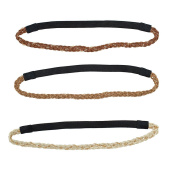Lux Accessories Woven Brown Chain Link Stretch Headband Set