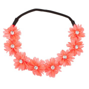 Lux Accessories Floral Flower Crystal Stretch Headband Head Band