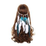 AWAYTR New White Feather Headband Women Festival Wedding Headwear Bohomia Feather Rope Crown Headdress