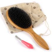 BESTOOL Hair Brush-Wild Boar Bristle Hair Brushes Natural Bamboo Wooden Cushion Massage Anti Static Large Paddle Hairbrush for Women Men and Kid