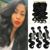 BQ HAIR 8A Body Wave Pre-Plucked 360 Lace Frontal with 3 Bundles Brazilian Virgin Human Hair