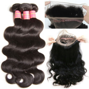 ALI JULIA 7a 360 Lace Frontal with bundles Body Wave Brazilian Virgin Hair with Baby Hair Free Part