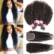 Sunber Hair Brazilian Virgin Curly Hair with Lace Closure Bleached Knots